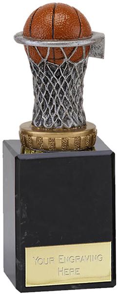 "Plastic Basketball & Net Trophy on Marble Base 14.5cm (5.75"")"