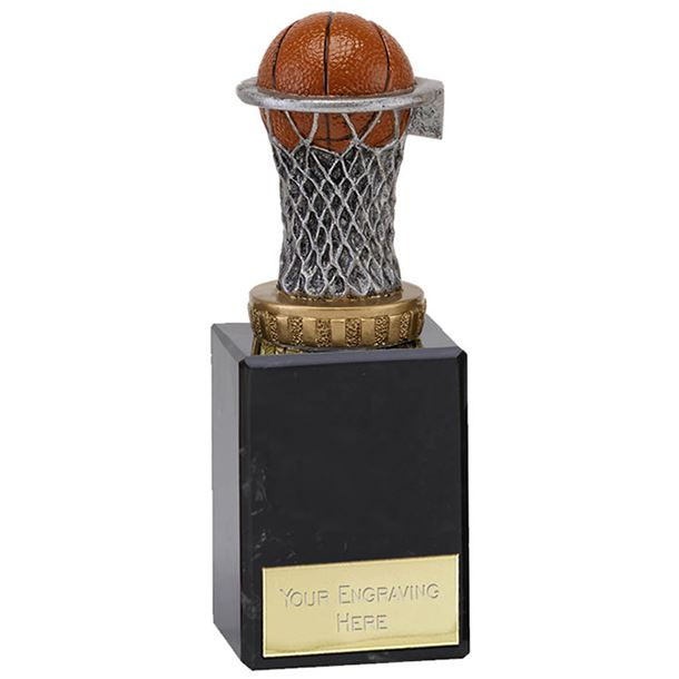 "Plastic Basketball & Net Trophy on Marble Base 15cm (6"")"