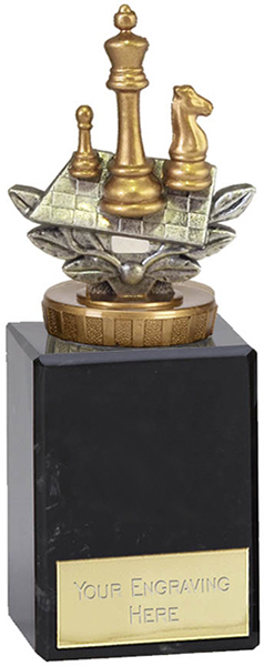 "Silver & Gold Plastic Chess Trophy on Large Marble Base 12.5cm (5.75"")"