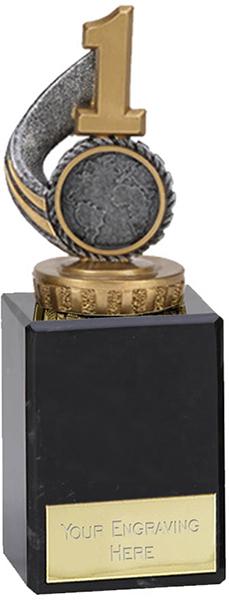 "Antique Silver Number 1 Trophy on Marble Base 14.5cm (5.75"")"