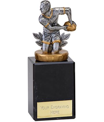 "Antique Silver Rugby Player in Action Trophy on Marble Base 14.5cm (5.75"")"