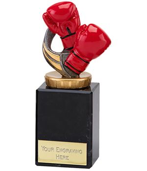 "Red Boxing Gloves Trophy on Marble Base 15cm (6"")"