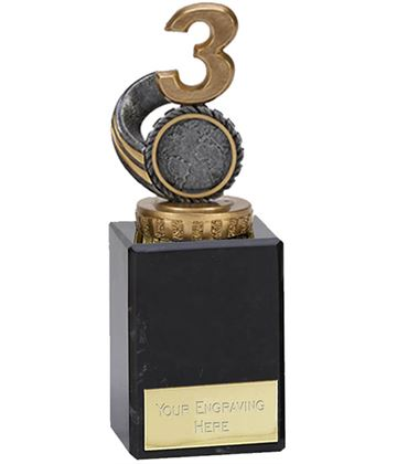 "Silver & Gold Plastic Number 3 Trophy on Marble Base 14.5cm (5.75"")"
