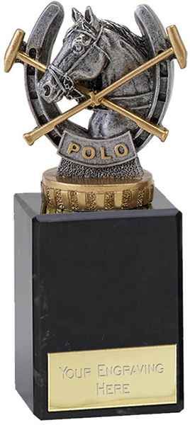 """Antique Silver Plastic Polo Trophy on Marble Base 14.5cm (5.75"""")"""