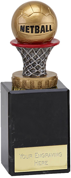 """Antique Silver & Gold Netball Trophy on Marble Base 14.5cm (5.75"""")"""