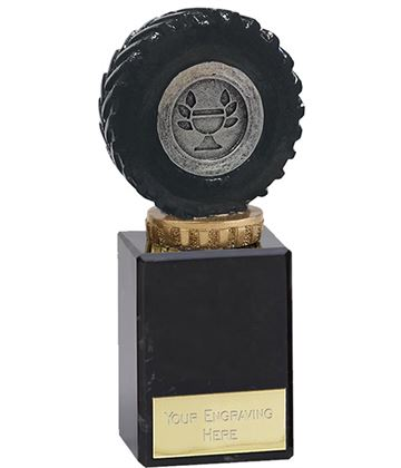 "Black Tractor Tyre Trophy on Marble Base 14.5cm (5.75"")"