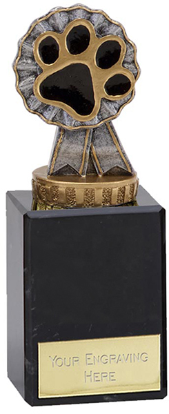 "Pet Paw & Ribbon Trophy on Marble Base 14.5cm (5.75"")"