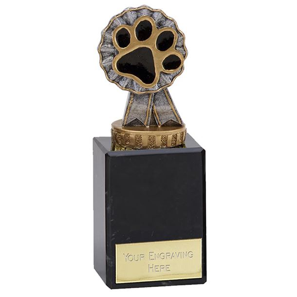 "Pet Paw & Ribbon Trophy on Marble Base 15cm (6"")"