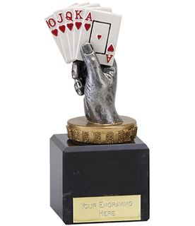 "Royal Flush Playing Cards Trophy on Marble Base 12cm (4.75"")"