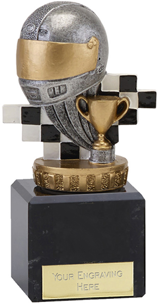 """Silver & Gold Plastic Motorsport Trophy on Marble Base 12cm (4.75"""")"""