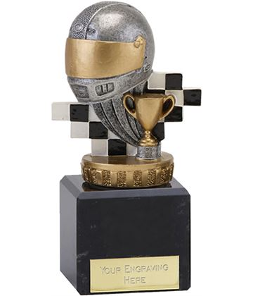 "Silver & Gold Plastic Motorsport Trophy on Marble Base 11cm (4.75"")"