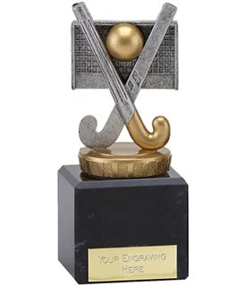 """Antique Silver Crossed Hockey Sticks Trophy on Marble Base 11cm (4.75"""")"""