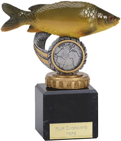 "Mirror Carp Plastic Fishing Trophy on Marble Base 12cm (4.75"")"