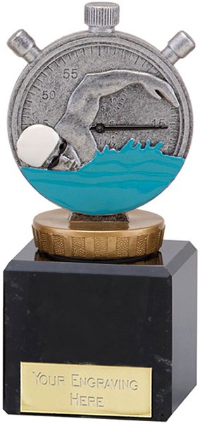 "Silver Swimming Clock & Swimmer Trophy on Large Marble Base 11cm (4.75"")"