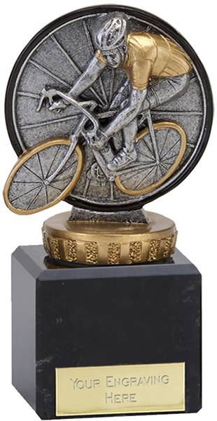 """Antique Silver Classic Cycling Trophy on Marble Base 12cm (4.75"""")"""
