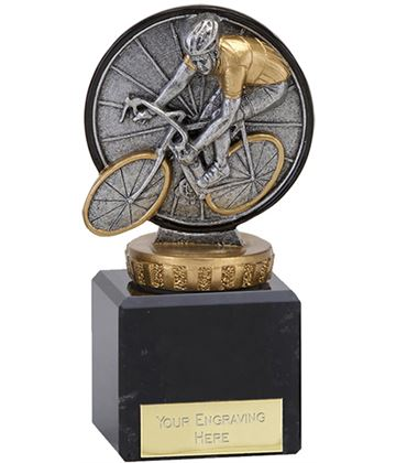 """Antique Silver Classic Cycling Trophy on Marble Base 11cm (4.75"""")"""