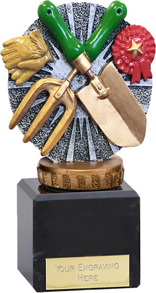 """Silver & Gold Plastic Gardening Trophy on Large Marble Base 12cm (4.75"""")"""