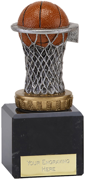 "Plastic Basketball & Net Trophy on Marble Base 12cm (4.75"")"