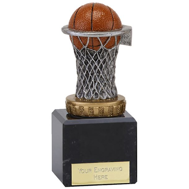 "Plastic Basketball & Net Trophy on Marble Base 12.5cm (5"")"