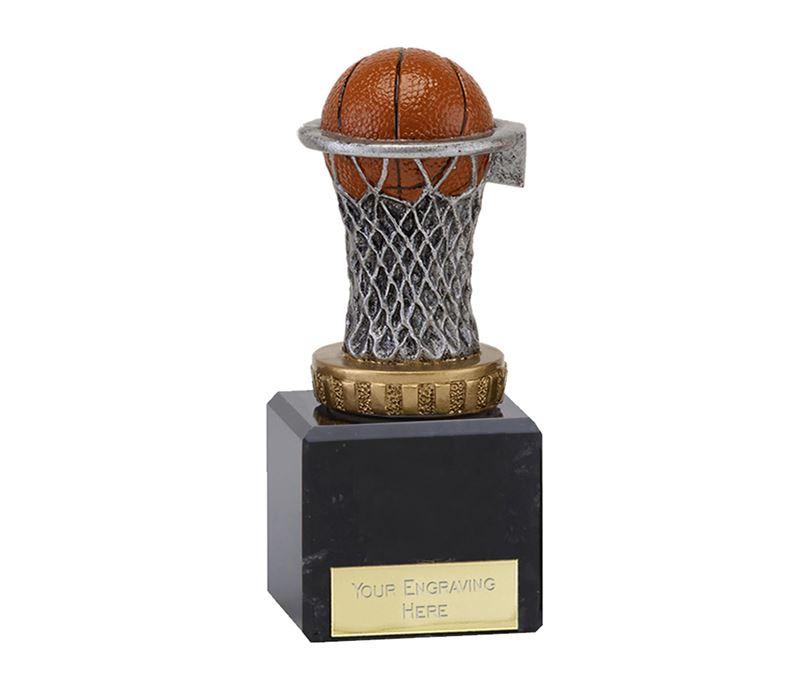"Plastic Basketball & Net Trophy on Marble Base 12cm (4.75"")"