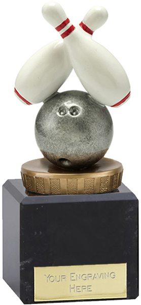 "Plastic Ten Pin Bowling Trophy on Large Marble Base 12cm (4.75"")"