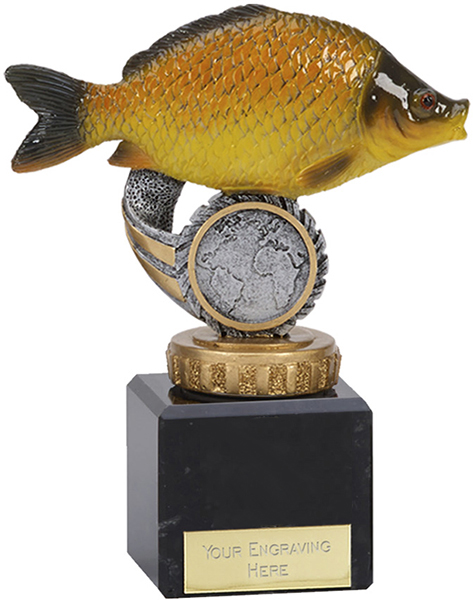 "Common Carp Plastic Fishing Trophy on Marble Base 12cm (4.75"")"
