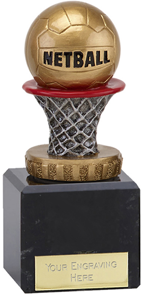 """Antique Silver & Gold Netball Trophy on Marble Base 12cm (4.75"""")"""