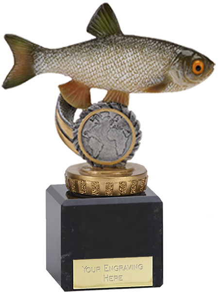 "Chub Plastic Fishing Trophy on Marble Base 12cm (4.75"")"