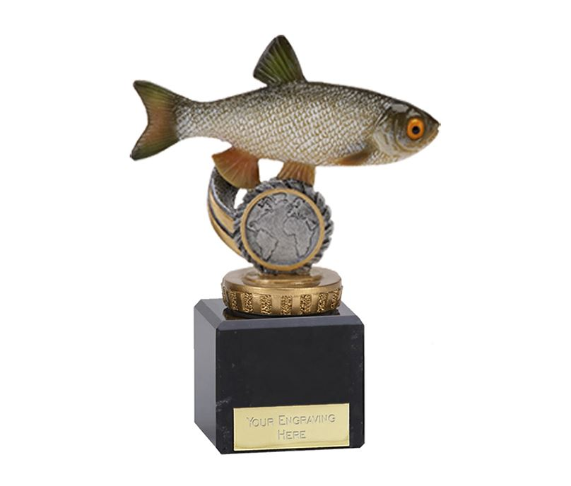"Chub Plastic Fishing Trophy on Marble Base 12cm (4.75"")"