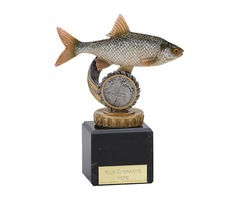 "Roach Plastic Fishing Trophy on Marble Base 12cm (4.75"")"