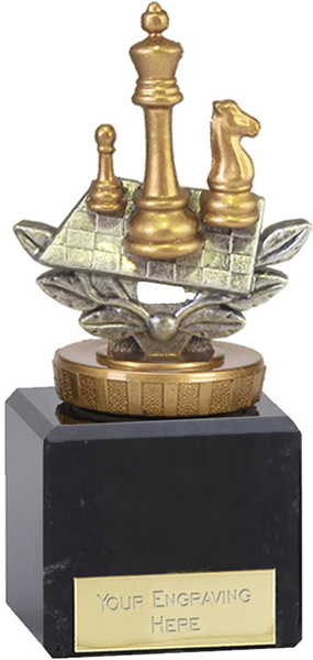 """Silver & Gold Plastic Chess Trophy on Large Marble Base 12cm (4.75"""")"""