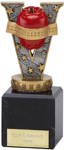 """Antique Silver & Red Slimming Trophy on Marble Base 12cm (4.75"""")"""