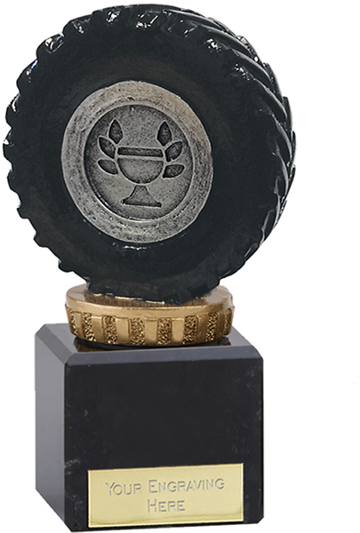 "Black Plastic Tractor Tyre Trophy on Marble Base 12cm (4.75"")"