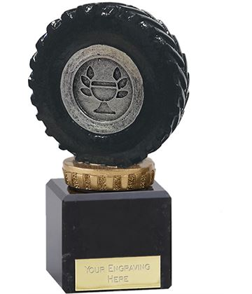 """Black Tractor Tyre Trophy on Marble Base 12cm (4.75"""")"""