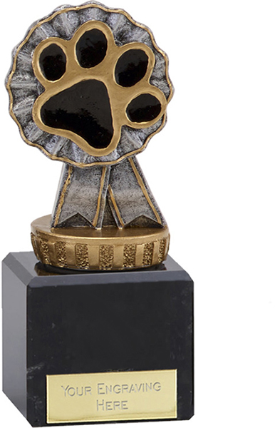 "Pet Paw & Ribbon Trophy on Marble Base 12cm (4.75"")"