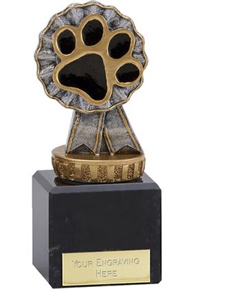 "Pet Paw & Ribbon Trophy on Marble Base 12cm (4.75"")"