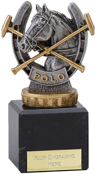 "Antique Silver Plastic Polo Trophy on Marble Base 12cm (4.75"")"