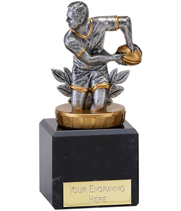"Antique Silver Rugby Player in Action Trophy on Marble Base 12cm (4.75"")"