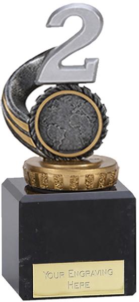 "Silver & Gold Plastic Number 2 Trophy on Marble Base 12cm (4.75"")"