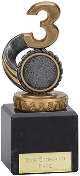 "Silver & Gold Plastic Number 3 Trophy on Marble Base 12cm (4.75"")"