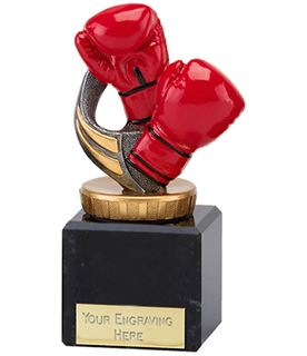 """Red Boxing Gloves Trophy on Marble Base 11cm (4.75"""")"""