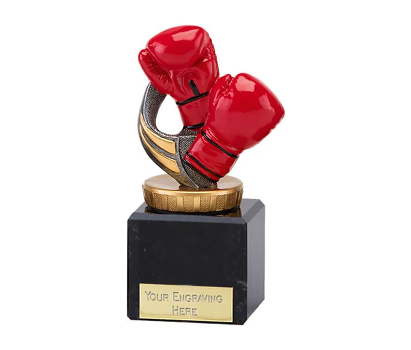 "Red Boxing Gloves Trophy on Marble Base 12.5cm (5"")"
