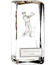 """Optical Crystal Clarity Male Golfer Award 11.5cm (4.5"""")"""