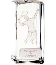 "Optical Crystal Clarity Male Tennis Award 11.5cm (4.5"")"