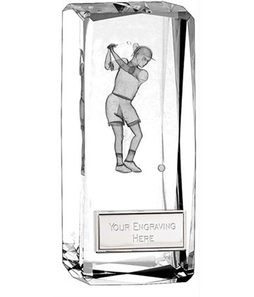 "Optical Crystal Clarity Female Golfer Award 11.5cm (4.5"")"