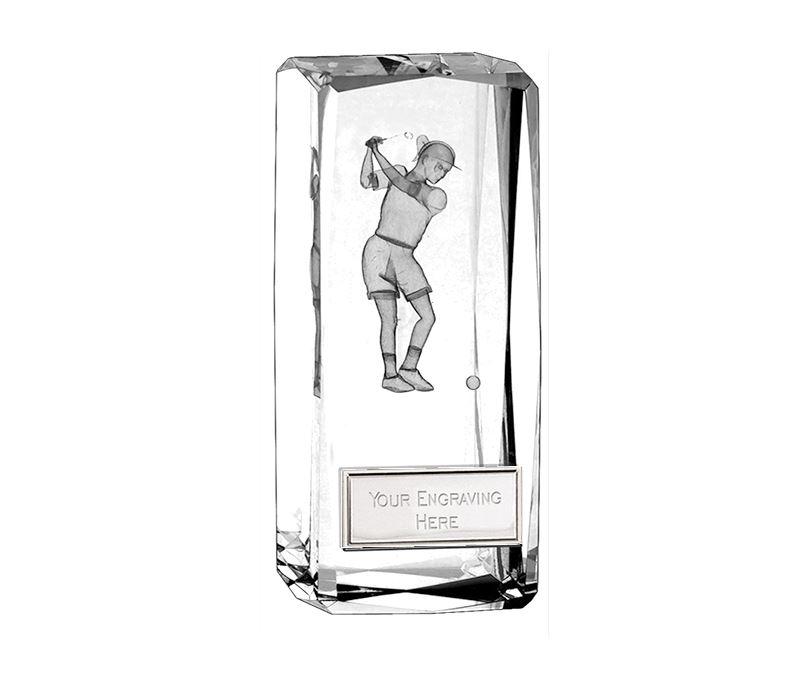 """Optical Crystal Clarity Female Golfer Award 11.5cm (4.5"""")"""