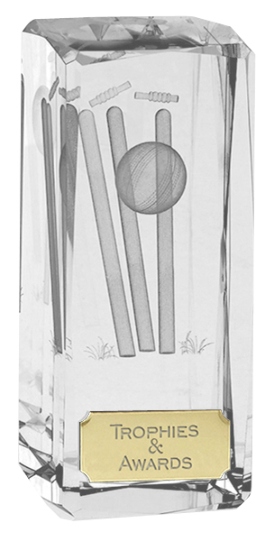"Clarity Crystal Cricket Glass Award 11.5cm (4.5"")"