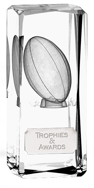 "Clarity Crystal Rugby Glass Award 11.5cm (4.5"")"