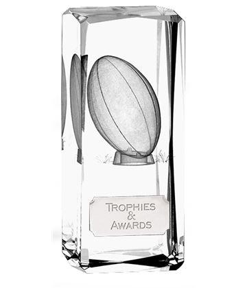 "Clarity Crystal Rugby Glass Award 11.5cm (4.5"")"