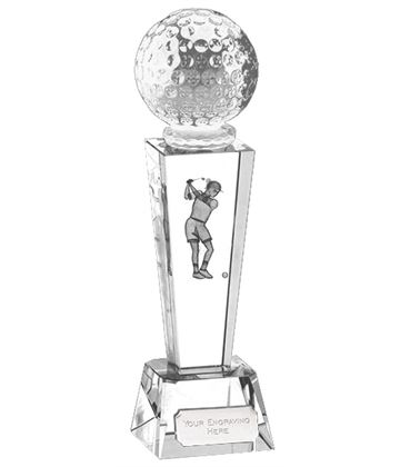 "Optical Crystal Unite Female Golfer Glass Award 21.5cm (8.5"")"